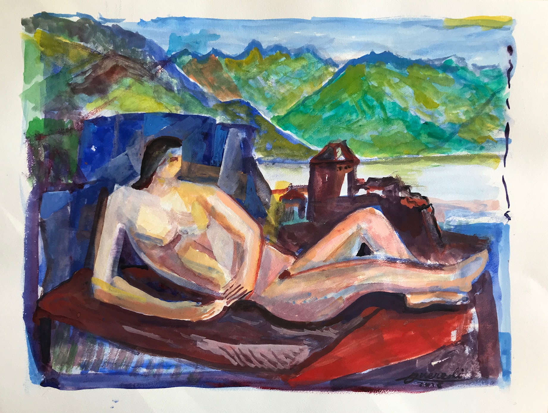 La femme au bord du lac